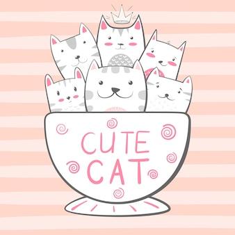 猫、キティ文字。コーヒーと紅茶のイラスト