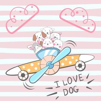 漫画の犬のキャラクター。飛行機のイラスト