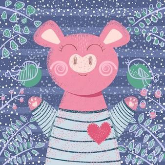 Милая свинья зимы - иллюстрация детей.