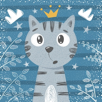 かわいいリトルプリンセス - 猫キャラクター。