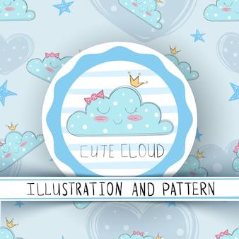 プリンセスかわいい雲 - シームレスなパターン