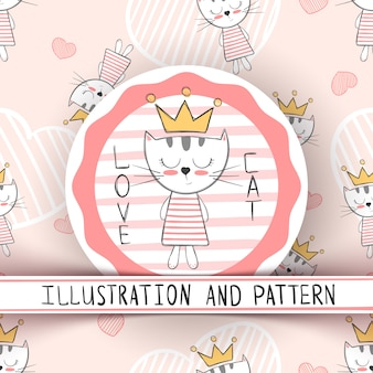 Милый кот - мультфильм бесшовные модели. ничья рука