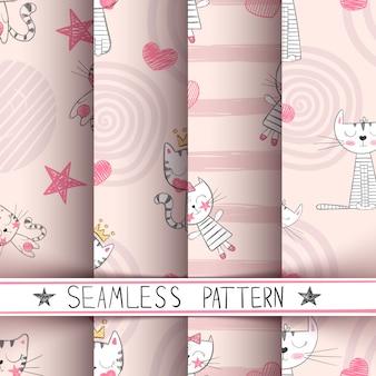 キティのシームレスパターン