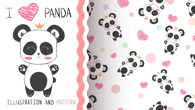 Панда бесшовный фон