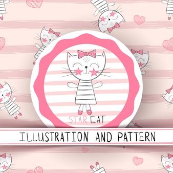 Милый кот мультфильм бесшовный фон