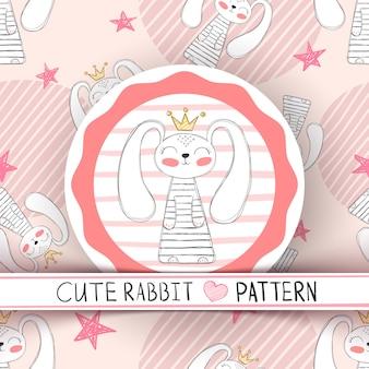 かわいいシームレスパターンのウサギの漫画