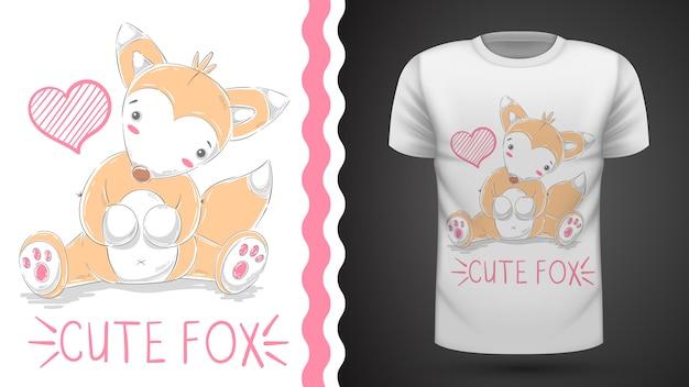 Симпатичная лиса для футболки с принтом