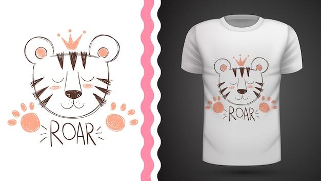 Симпатичная идея тигра для футболки с принтом