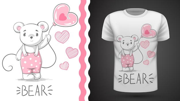 Симпатичная идея медведя для печати футболки