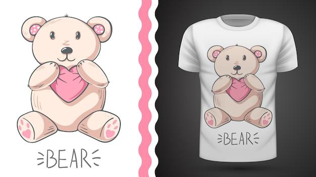Идея милого медведя для футболки с принтом
