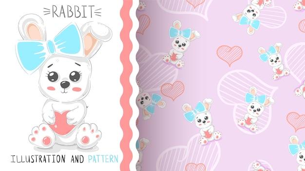 かわいいウサギの心 - シームレスなパターン