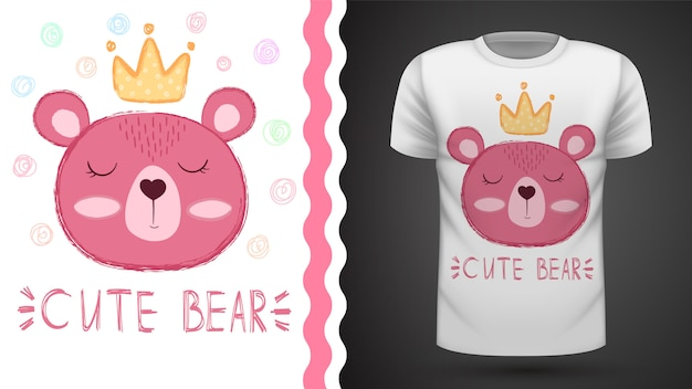 Медведь принцесса - идея для печати футболки.