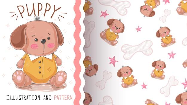 犬、テディの子犬 - シームレスなパターン