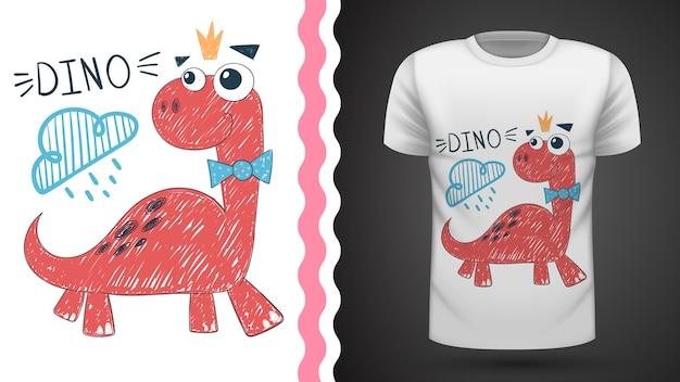 Идея милой принцессы динозавров для футболки с принтом