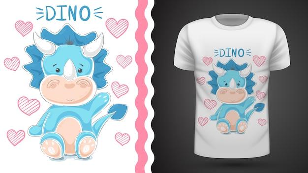 Милый плюшевый динозавр - идея для печати футболки