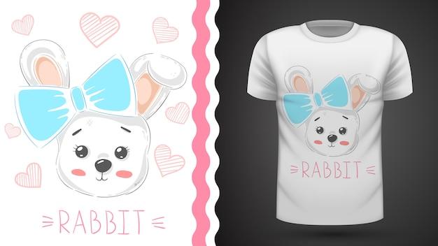 Милый кролик с сердцем - идея для печати футболки