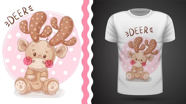 Милый олень - идея для печати футболки
