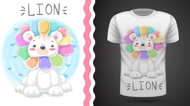 Идея милого льва для футболки с принтом