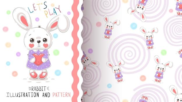 ウサギの心のシームレスなパターン