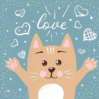 Симпатичные персонажи-кошки. любовь иллюстрации.