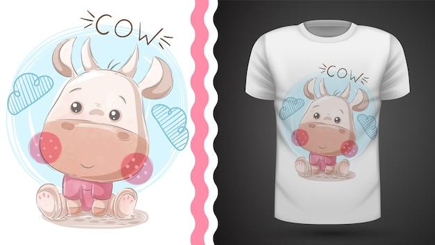 Смешная тедди корова - идея для печати футболки