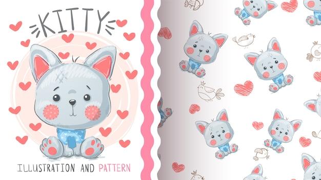 かわいい猫キツネ - シームレスパターン