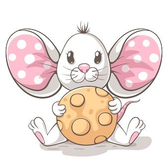 かわいい、面白い、テディーマウスの漫画のキャラクター。