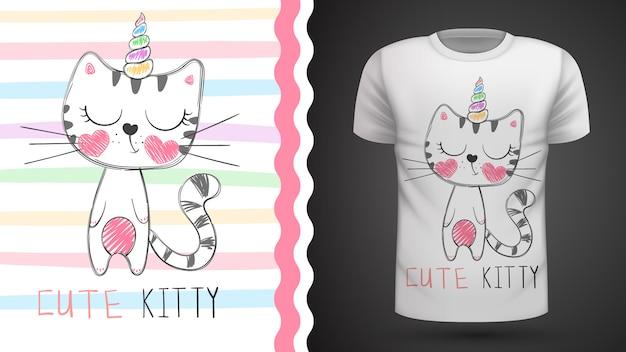 Милый кот - идея для печати футболки