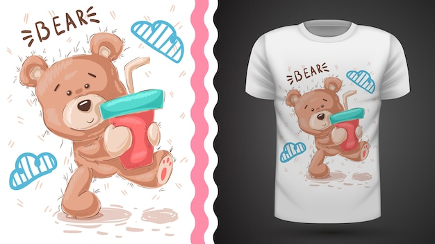 Милый плюшевый мишка - идея для печати футболки