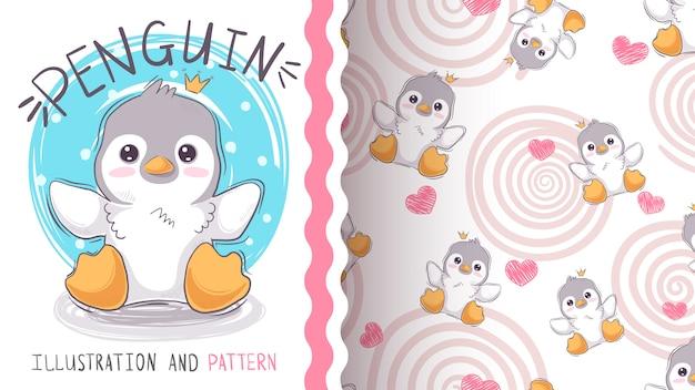 かわいい王女ペンギン - あなたのアイデアのためのモックアップ