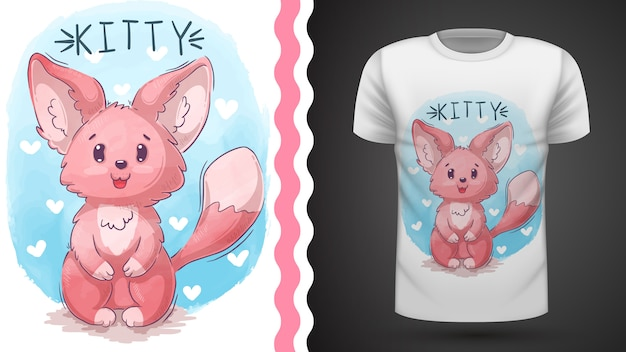 Кошка, котенок, лиса - идея для печати футболки