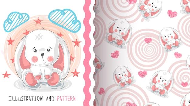 ハッピーイースターのウサギのシームレスパターン
