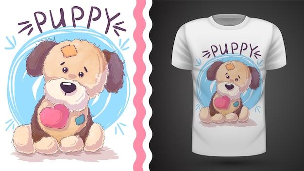 Щенок с сердцем - идея для печати футболки
