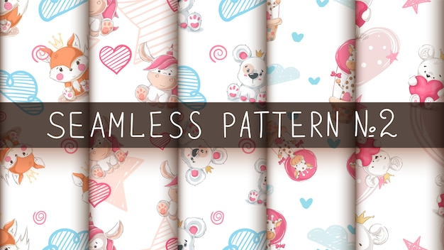 かわいい動物 - シームレスなパターンを設定します。