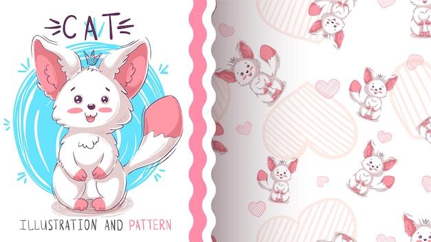 かわいいテディ猫 - シームレスなパターン