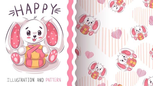 面白いテディウサギ - シームレスなパターン