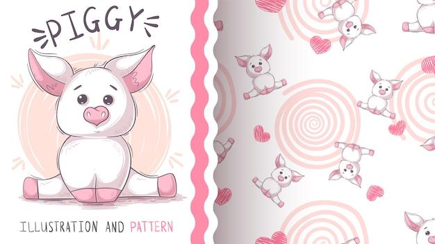 かわいいテディ豚 - シームレスなパターン