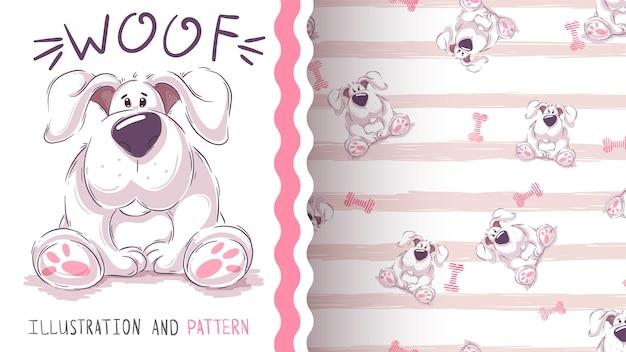 かわいい漫画の犬 - シームレスなパターン
