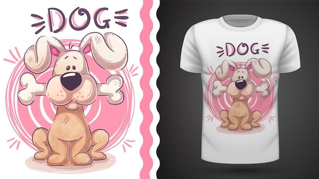 Милая собака с костью - идея для печати футболки