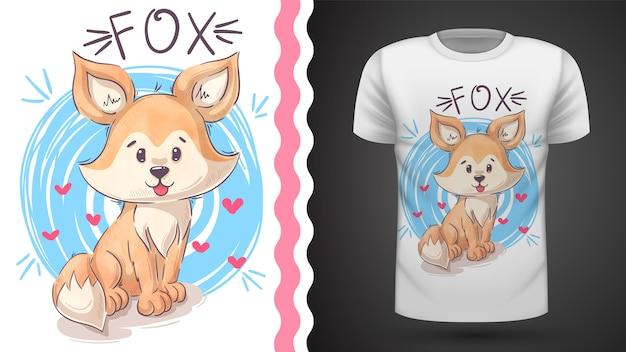 Симпатичный лис тедди - идея для печати футболки