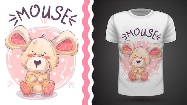 Симпатичная мышка тедди - идея для печати футболки