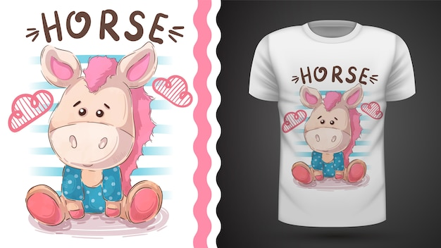 Лошадь тедди - идея для печати футболки