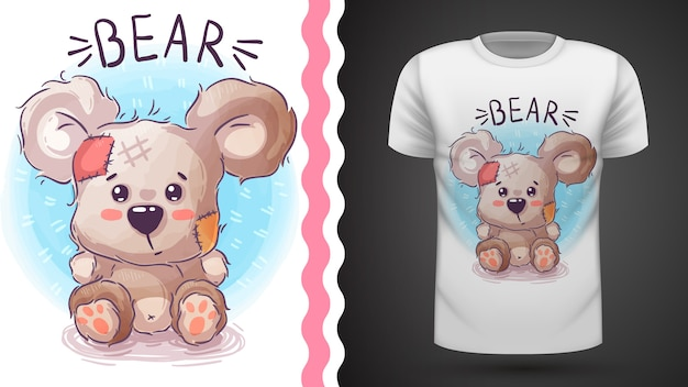 Мишка тедди - идея для футболки с принтом