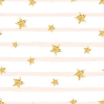 ゴールドスター - シームレスパターン。かわいいイラスト。
