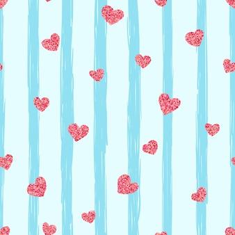 シームレスなピンクのハートのパターン。愛のイラストレーション。