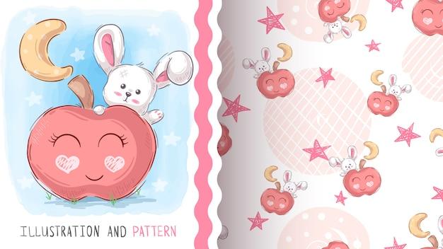 甘いテディウサギ-シームレスなパターン