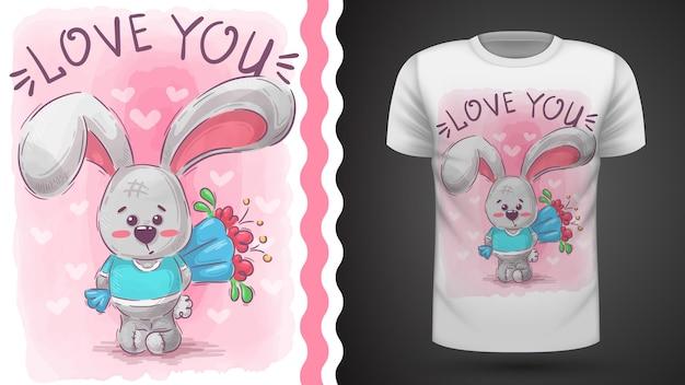 Кролик с цветком - идея для печати футболки