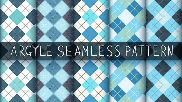 シームレスなアーガイルチェック柄ブルーパターン。