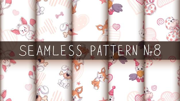 かわいいかわいい動物-シームレスなパターン