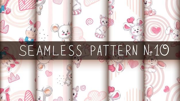 かわいい動物-シームレスなパターンを設定します